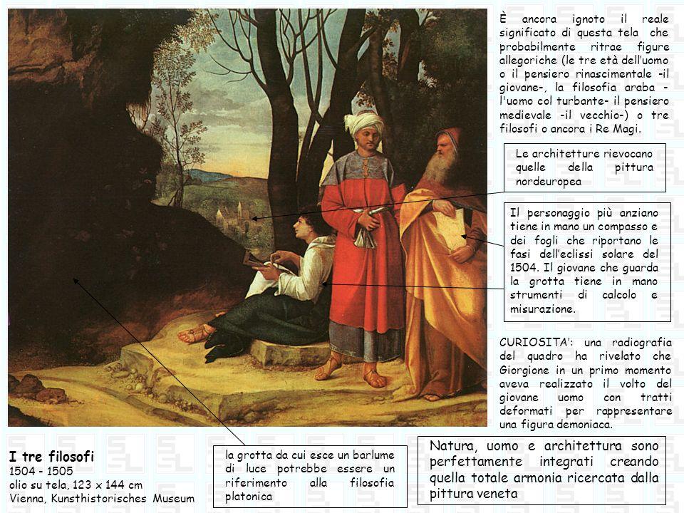 I tre filosofi 1504 - 1505 olio su tela, 123 x 144 cm Vienna, Kunsthistorisches Museum È ancora ignoto il reale significato di questa tela che probabi