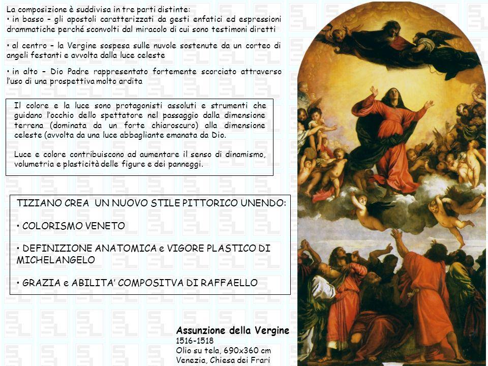 Assunzione della Vergine 1516-1518 Olio su tela, 690x360 cm Venezia, Chiesa dei Frari La composizione è suddivisa in tre parti distinte: in basso – gl