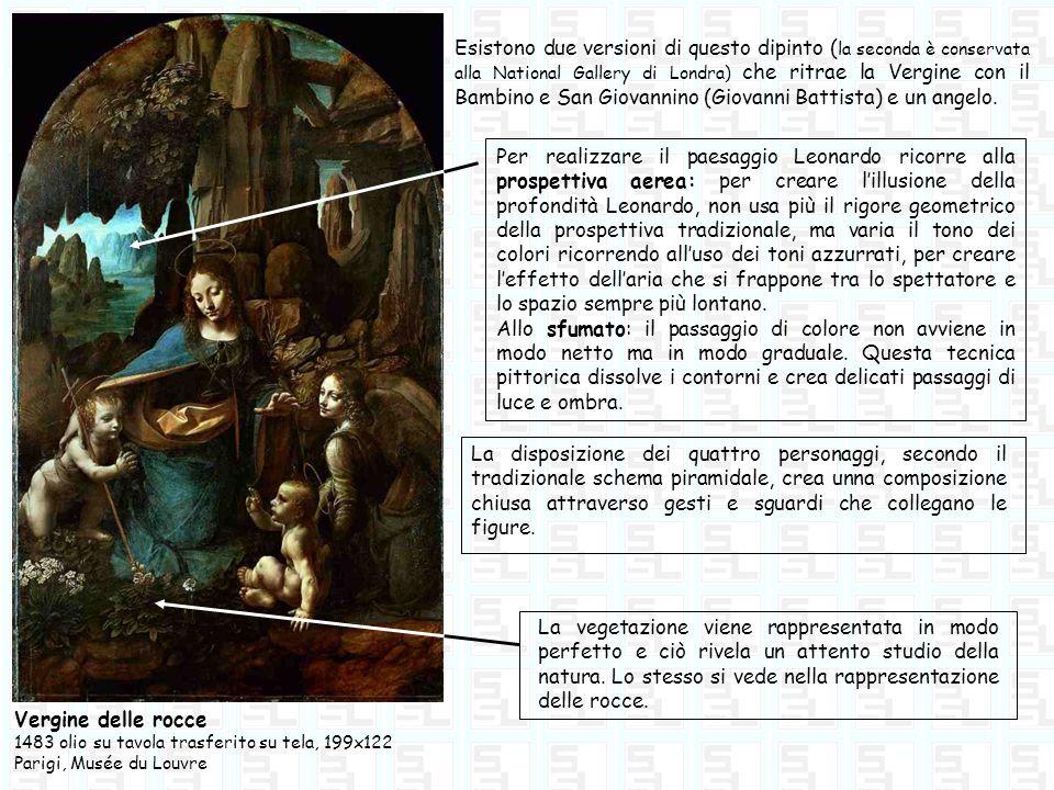 Vergine delle rocce 1483 olio su tavola trasferito su tela, 199x122 Parigi, Musée du Louvre La disposizione dei quattro personaggi, secondo il tradizi
