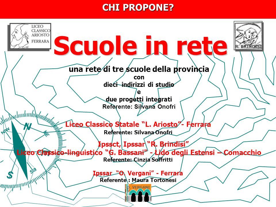 Scuole in rete Scuole in rete Liceo Classico Statale L. Ariosto- Ferrara Referente: Silvana Onofri Ipssct, Ipssar R. Brindisi Liceo Classico-linguisti