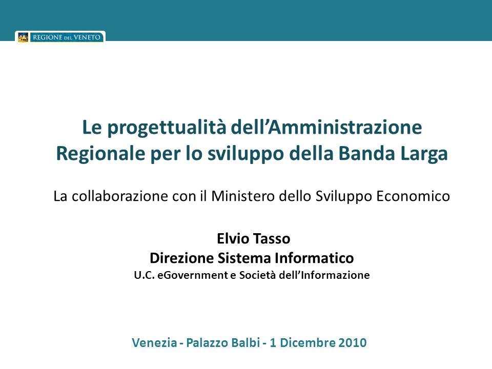 Le progettualità dellAmministrazione Regionale per lo sviluppo della Banda Larga La collaborazione con il Ministero dello Sviluppo Economico Elvio Tas