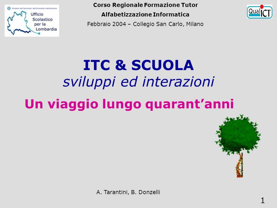 A. Tarantini, B. Donzelli 1 ITC & SCUOLA sviluppi ed interazioni Un viaggio lungo quarantanni Corso Regionale Formazione Tutor Alfabetizzazione Inform
