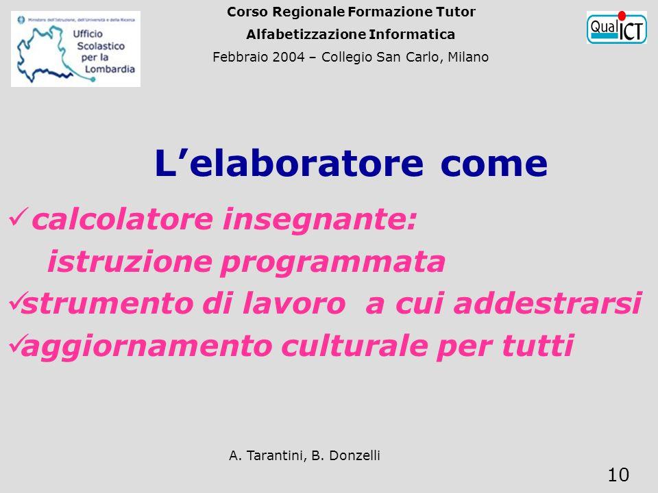 A. Tarantini, B. Donzelli 10 calcolatore insegnante: istruzione programmata strumento di lavoro a cui addestrarsi aggiornamento culturale per tutti Le