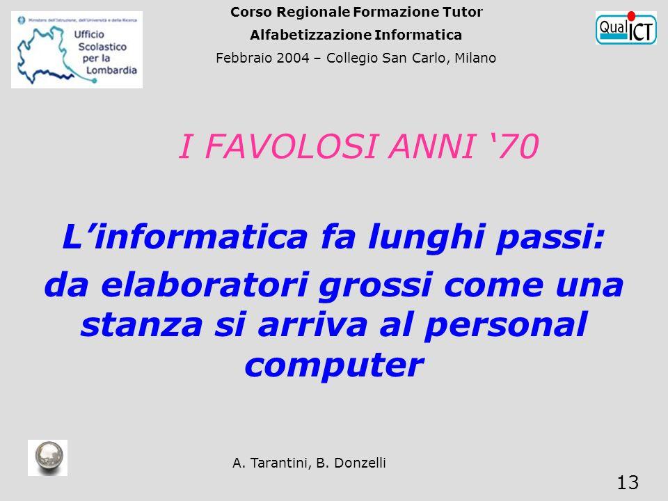 A. Tarantini, B. Donzelli 13 I FAVOLOSI ANNI 70 Linformatica fa lunghi passi: da elaboratori grossi come una stanza si arriva al personal computer Cor