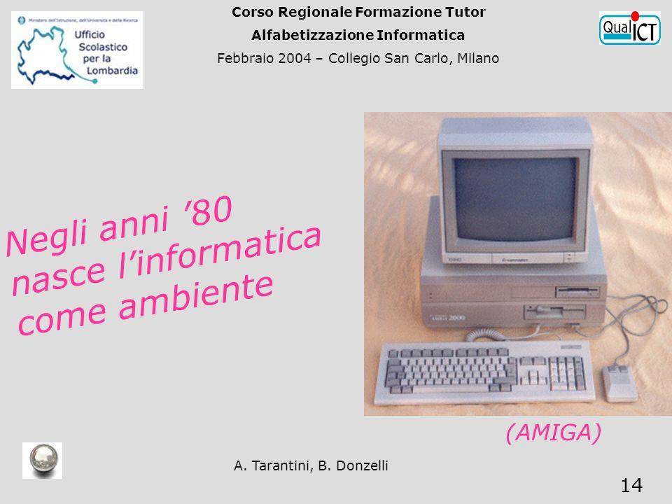 A. Tarantini, B. Donzelli 14 Negli anni 80 nasce linformatica come ambiente (AMIGA) Corso Regionale Formazione Tutor Alfabetizzazione Informatica Febb