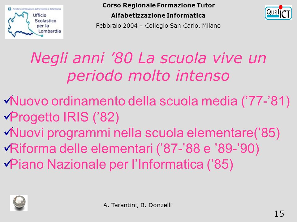 A. Tarantini, B. Donzelli 15 Negli anni 80 La scuola vive un periodo molto intenso Nuovo ordinamento della scuola media (77-81) Progetto IRIS (82) Nuo