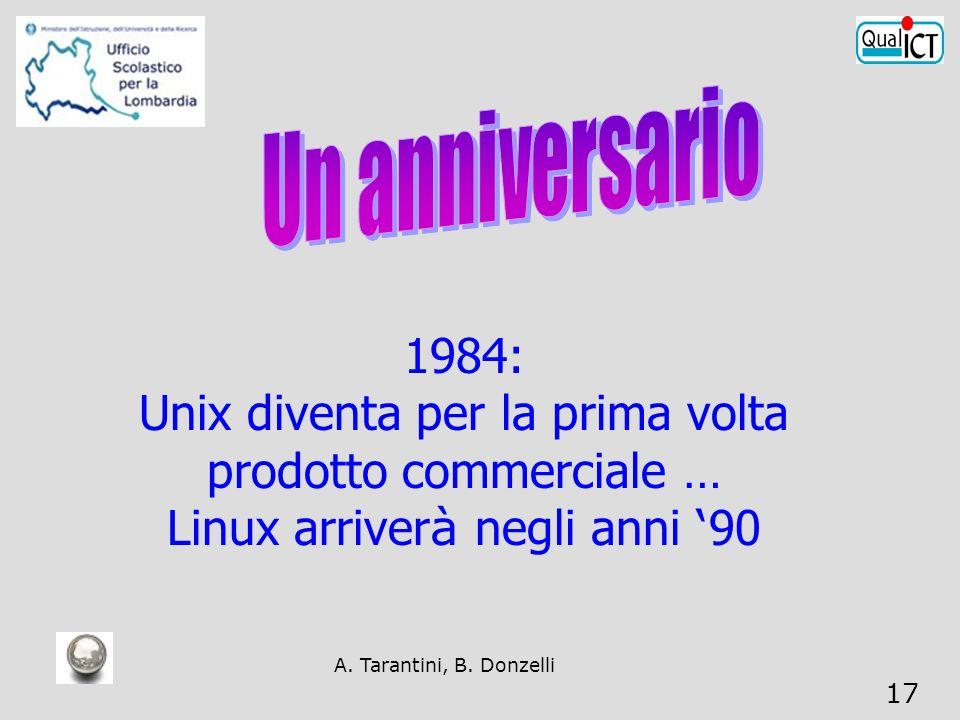 A. Tarantini, B. Donzelli 17 1984: Unix diventa per la prima volta prodotto commerciale … Linux arriver à negli anni 90