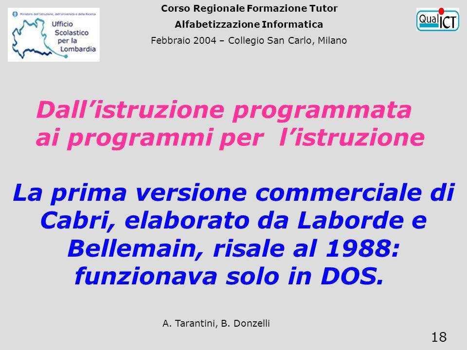 A. Tarantini, B. Donzelli 18 Dallistruzione programmata ai programmi per listruzione La prima versione commerciale di Cabri, elaborato da Laborde e Be