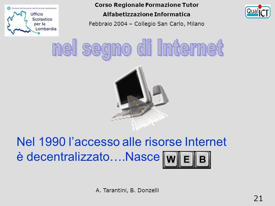 A. Tarantini, B. Donzelli 21 Nel 1990 laccesso alle risorse Internet è decentralizzato….Nasce Corso Regionale Formazione Tutor Alfabetizzazione Inform
