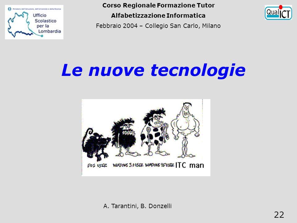 A. Tarantini, B. Donzelli 22 Le nuove tecnologie Corso Regionale Formazione Tutor Alfabetizzazione Informatica Febbraio 2004 – Collegio San Carlo, Mil