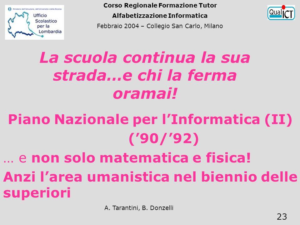 A. Tarantini, B. Donzelli 23 Piano Nazionale per lInformatica (II) (90/92) … e non solo matematica e fisica! Anzi larea umanistica nel biennio delle s