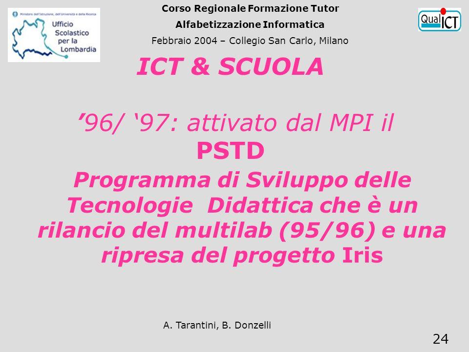 A. Tarantini, B. Donzelli 24 Programma di Sviluppo delle Tecnologie Didattica che è un rilancio del multilab (95/96) e una ripresa del progetto Iris I