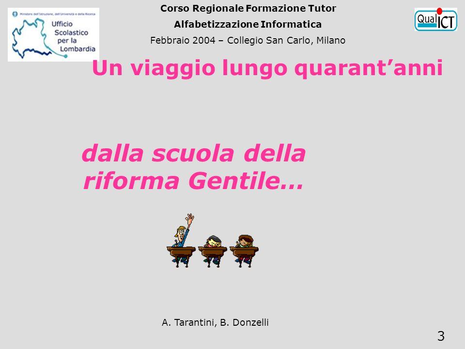 A. Tarantini, B. Donzelli 3 Un viaggio lungo quarantanni dalla scuola della riforma Gentile… Corso Regionale Formazione Tutor Alfabetizzazione Informa