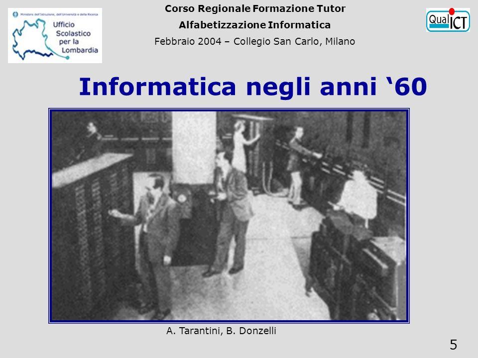 A. Tarantini, B. Donzelli 5 si passa dalla II alla III generazione di elaboratori. Informatica negli anni 60 Corso Regionale Formazione Tutor Alfabeti