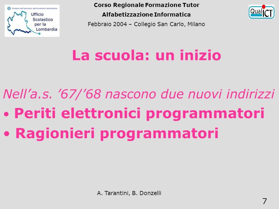 A. Tarantini, B. Donzelli 7 Nella.s. 67/68 nascono due nuovi indirizzi Periti elettronici programmatori Ragionieri programmatori La scuola: un inizio