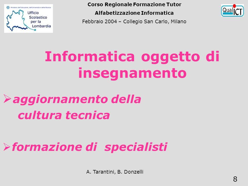A. Tarantini, B. Donzelli 8 Informatica oggetto di insegnamento aggiornamento della cultura tecnica formazione di specialisti Corso Regionale Formazio
