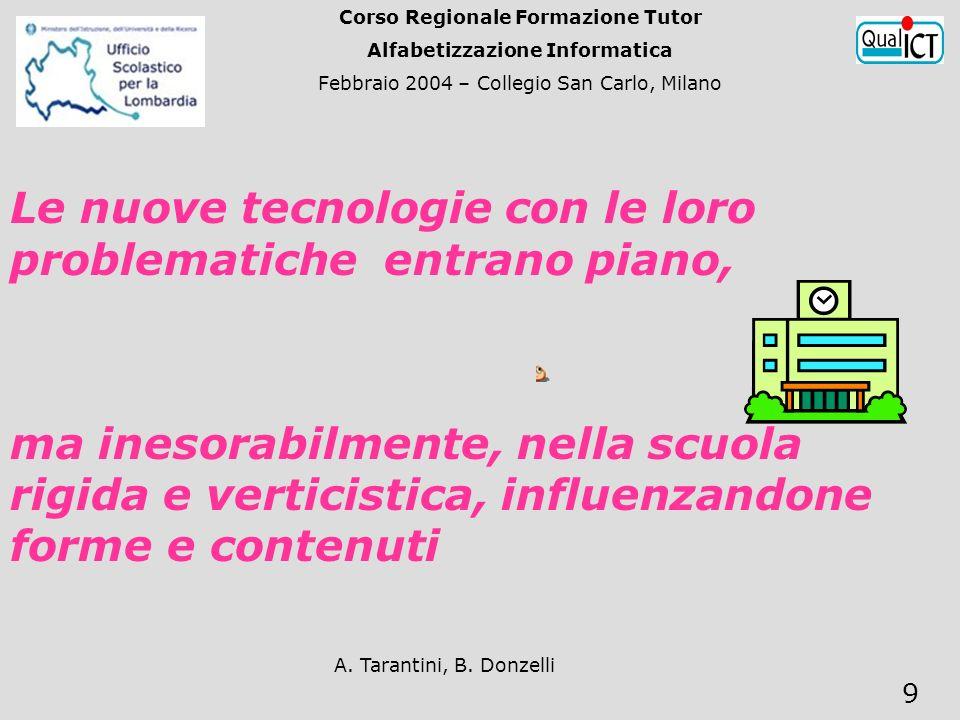 A. Tarantini, B. Donzelli 9 Le nuove tecnologie con le loro problematiche entrano piano, ma inesorabilmente, nella scuola rigida e verticistica, influ