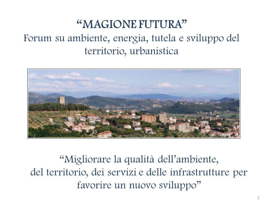 MAGIONE FUTURA Forum su ambiente, energia, tutela e sviluppo del territorio, urbanistica Migliorare la qualità dellambiente, del territorio, dei servi