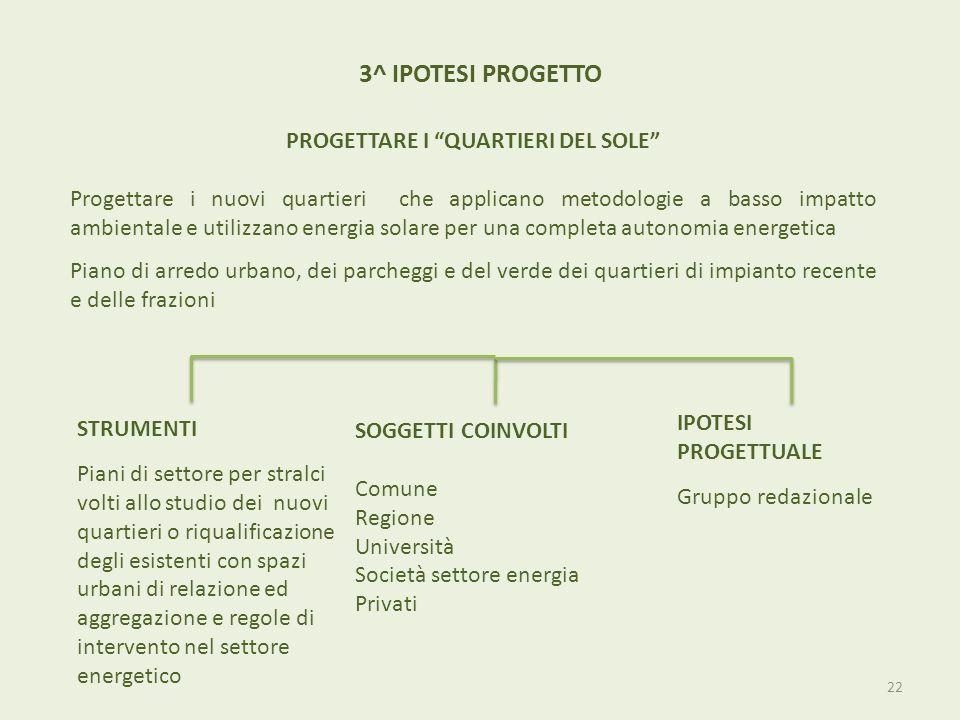 3^ IPOTESI PROGETTO PROGETTARE I QUARTIERI DEL SOLE Progettare i nuovi quartieri che applicano metodologie a basso impatto ambientale e utilizzano ene