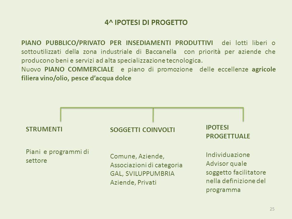 4^ IPOTESI DI PROGETTO PIANO PUBBLICO/PRIVATO PER INSEDIAMENTI PRODUTTIVI dei lotti liberi o sottoutilizzati della zona industriale di Baccanella con
