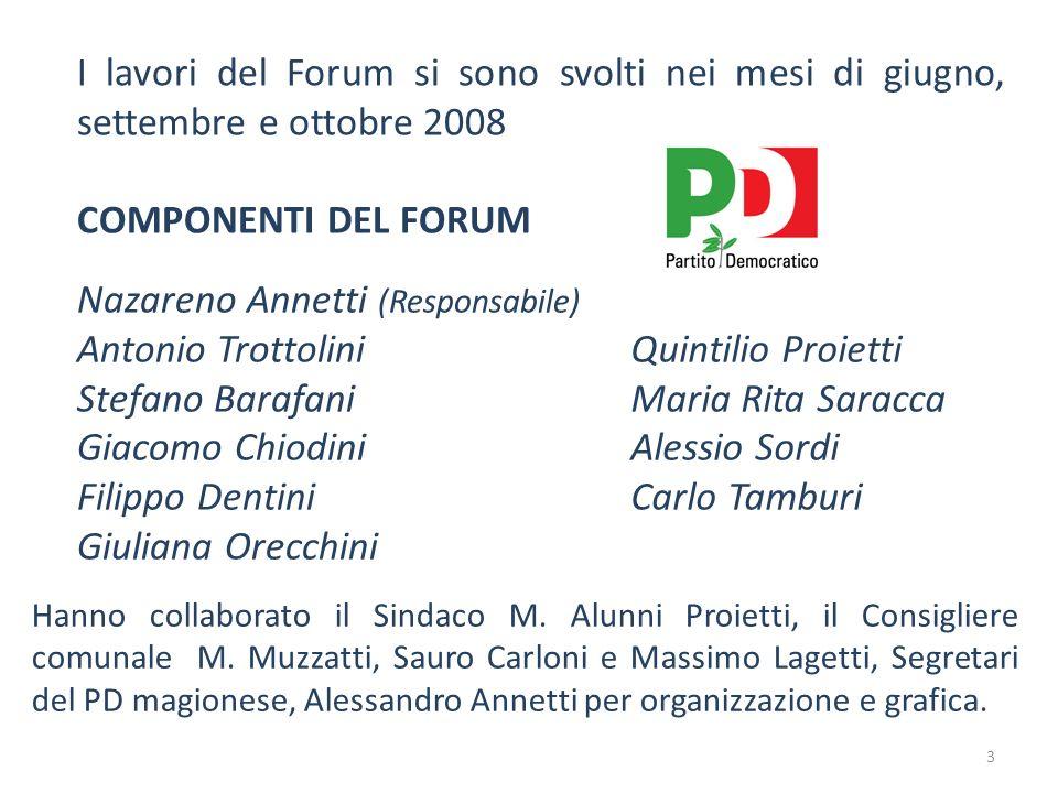 I lavori del Forum si sono svolti nei mesi di giugno, settembre e ottobre 2008 COMPONENTI DEL FORUM Nazareno Annetti (Responsabile) Antonio Trottolini