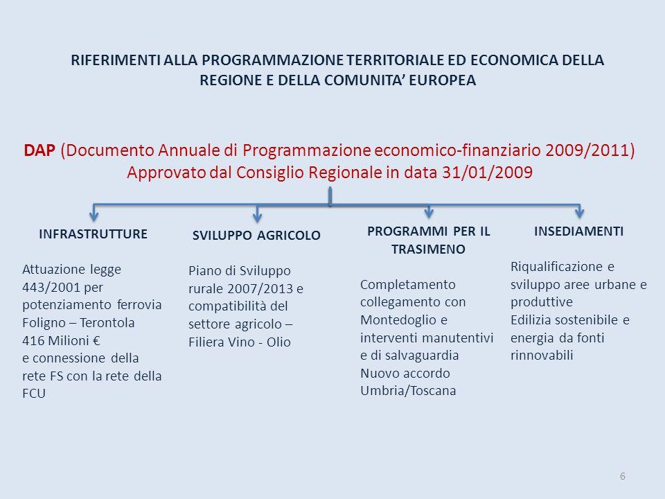 6 RIFERIMENTI ALLA PROGRAMMAZIONE TERRITORIALE ED ECONOMICA DELLA REGIONE E DELLA COMUNITA EUROPEA DAP (Documento Annuale di Programmazione economico-