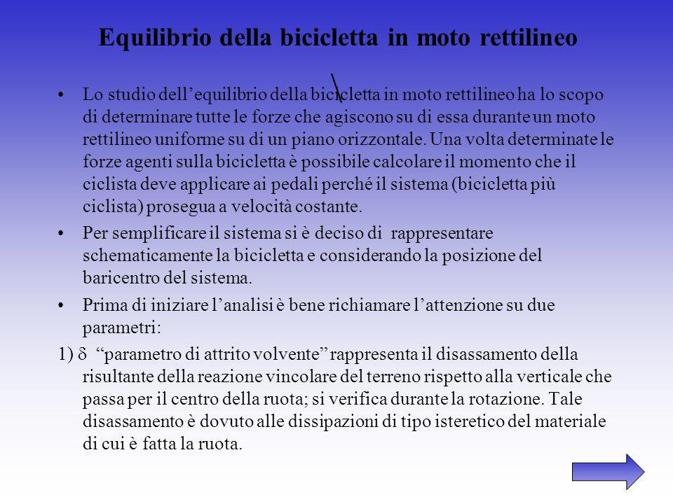 DINAMICA DELLA BICICLETTA Scopi ed obiettivi dello studio Nell analisi della dinamica della bicicletta si individuano i seguenti argomenti di grande i