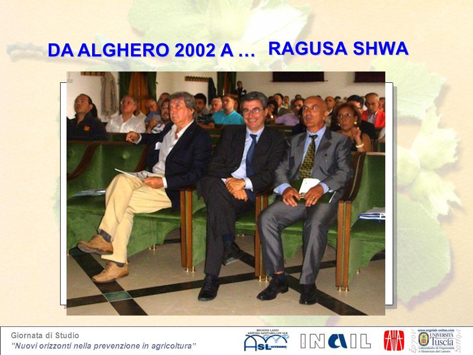 Giornata di Studio Nuovi orizzonti nella prevenzione in agricoltura RAGUSA SHWA RAGUSA SHWA DA ALGHERO 2002 A … DA ALGHERO 2002 A …