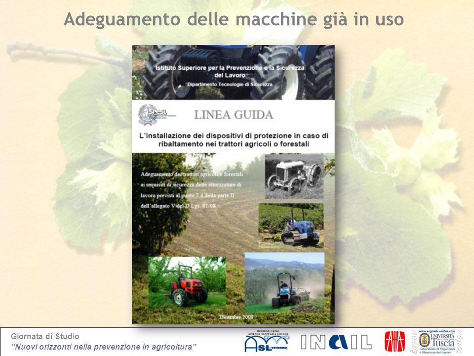 Giornata di Studio Nuovi orizzonti nella prevenzione in agricoltura Adeguamento delle macchine già in uso