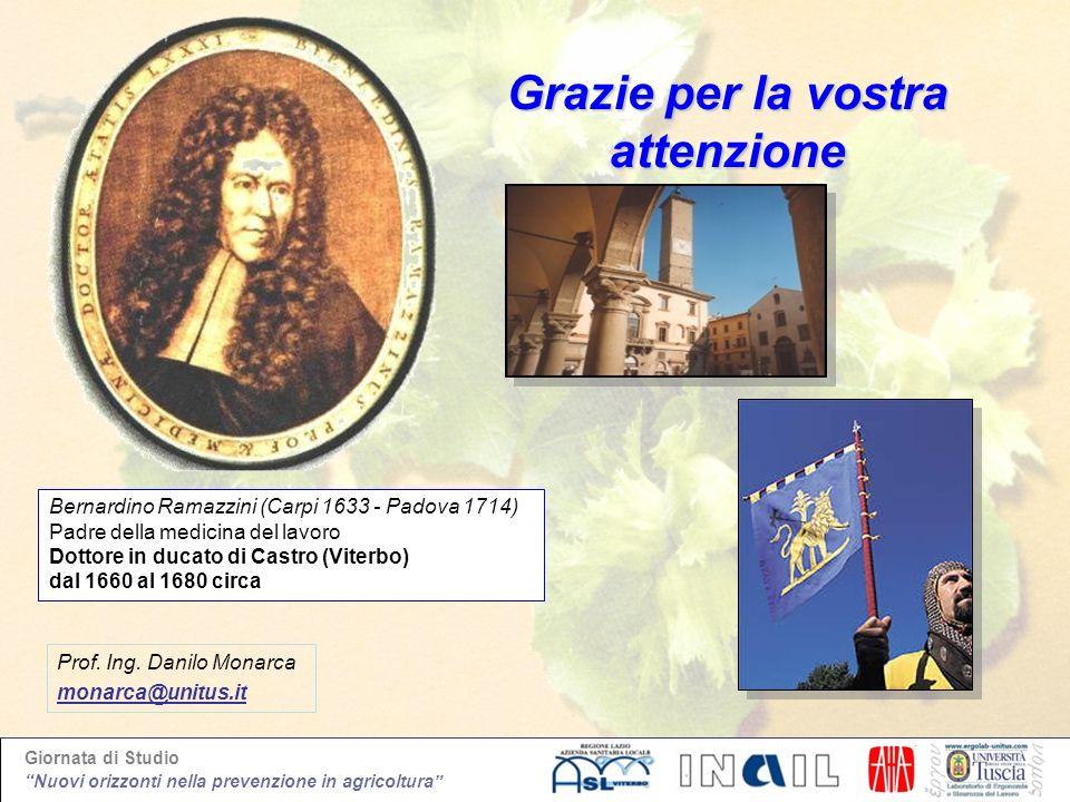 Giornata di Studio Nuovi orizzonti nella prevenzione in agricoltura Grazie per la vostra attenzione Bernardino Ramazzini (Carpi 1633 - Padova 1714) Pa