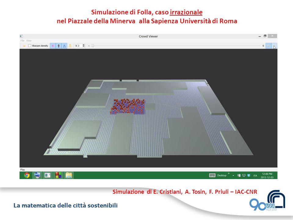 La matematica delle città sostenibili Simulazione di Folla, caso irrazionale nel Piazzale della Minerva alla Sapienza Università di Roma Simulazione d