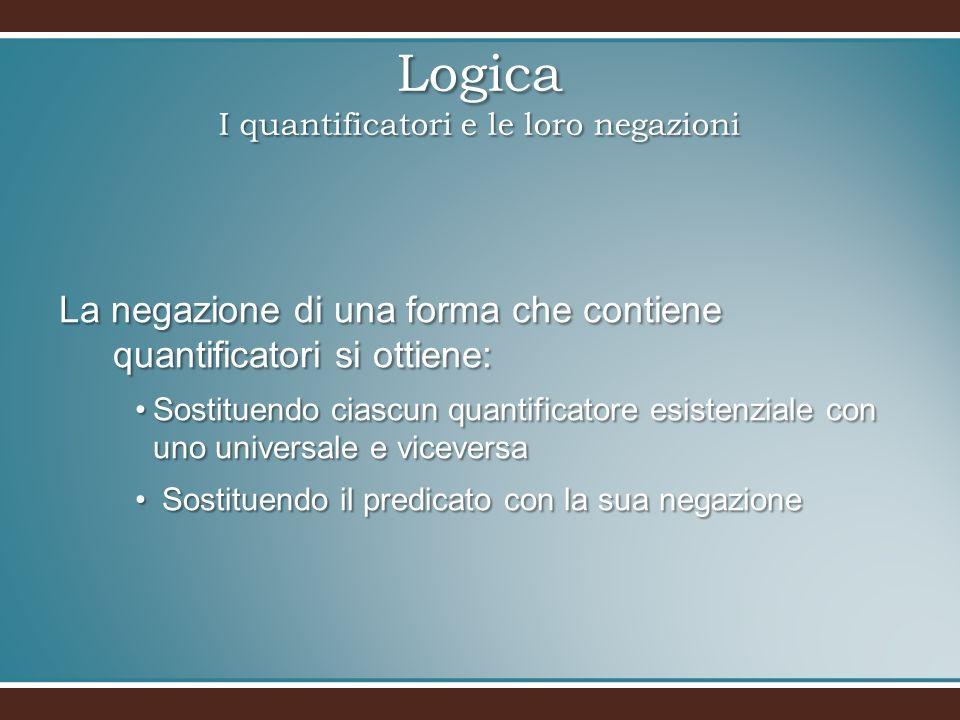 Logica I quantificatori e le loro negazioni La negazione di una forma che contiene quantificatori si ottiene: Sostituendo ciascun quantificatore esist