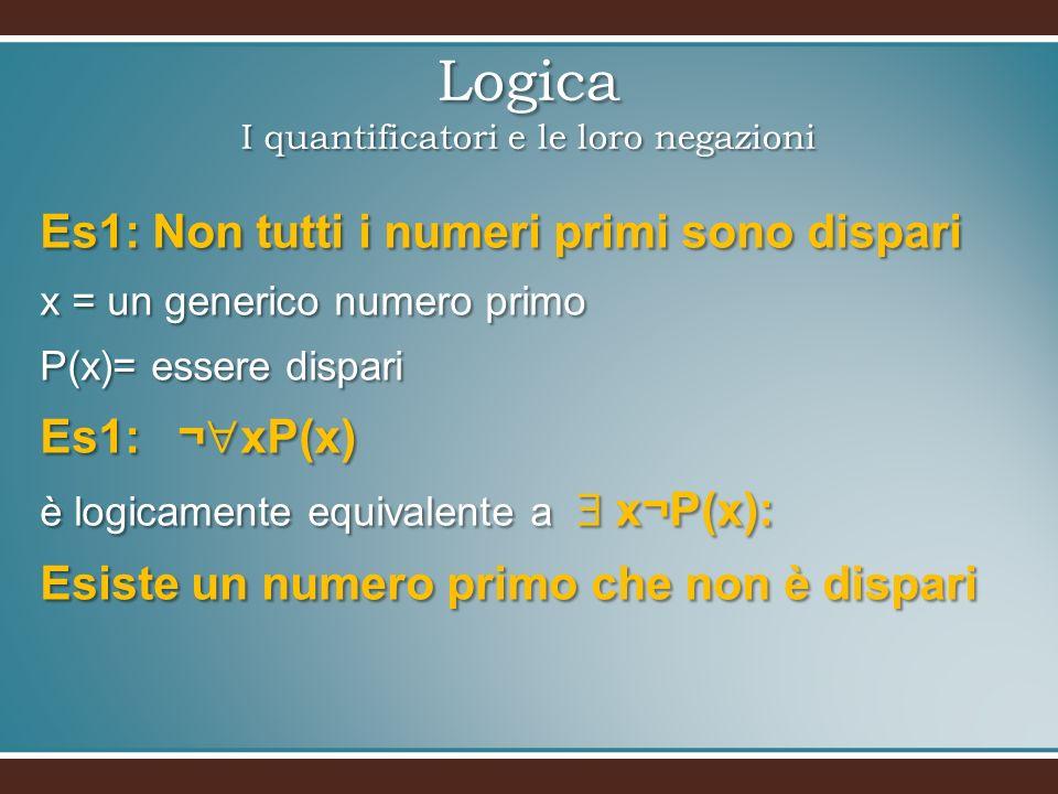 Logica I quantificatori e le loro negazioni Es1: Non tutti i numeri primi sono dispari x = un generico numero primo P(x)= essere dispari Es1: ¬ xP(x) è logicamente equivalente a x¬P(x): Esiste un numero primo che non è dispari