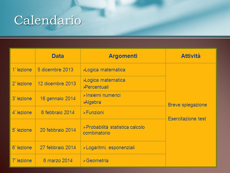 Calendario DataArgomentiAttività 1 ° lezione5 dicembre 2013 Logica matematica Breve spiegazione Esercitazione test 2 ° lezione12 dicembre 2013 Logica