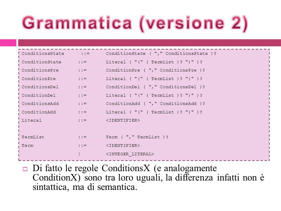 Di fatto le regole ConditionsX (e analogamente ConditionX) sono tra loro uguali, la differenza infatti non è sintattica, ma di semantica. ConditionsSt