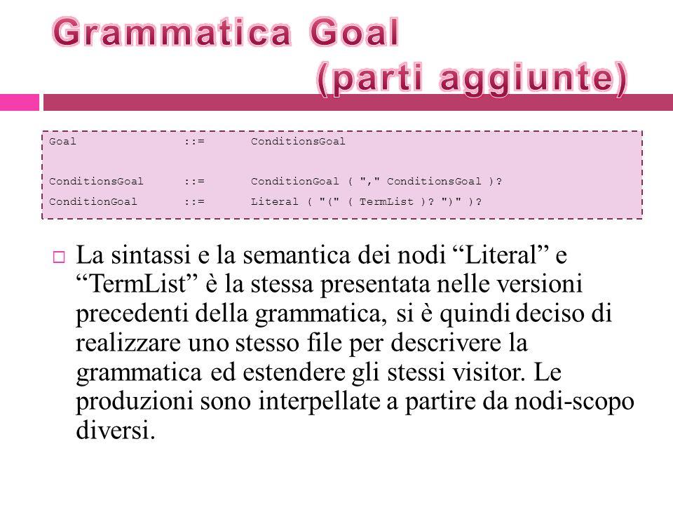 La sintassi e la semantica dei nodi Literal e TermList è la stessa presentata nelle versioni precedenti della grammatica, si è quindi deciso di realiz