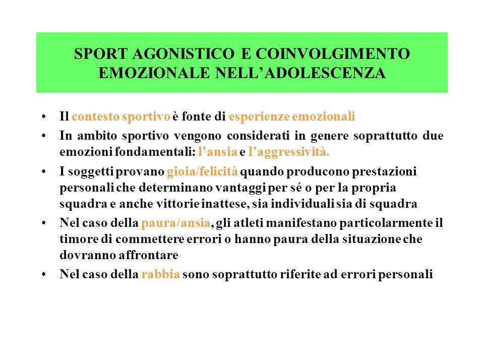 SPORT AGONISTICO E COINVOLGIMENTO EMOZIONALE NELLADOLESCENZA Il contesto sportivo è fonte di esperienze emozionali In ambito sportivo vengono consider