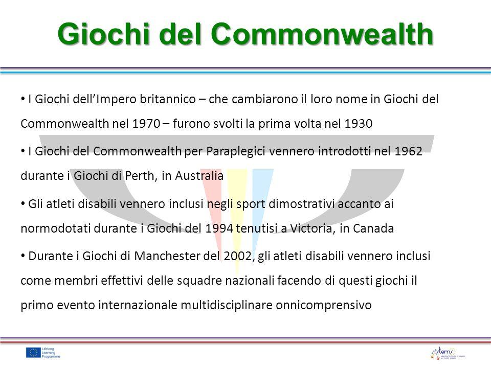 I Giochi dellImpero britannico – che cambiarono il loro nome in Giochi del Commonwealth nel 1970 – furono svolti la prima volta nel 1930 I Giochi del