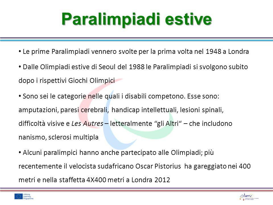 Le prime Paralimpiadi vennero svolte per la prima volta nel 1948 a Londra Dalle Olimpiadi estive di Seoul del 1988 le Paralimpiadi si svolgono subito