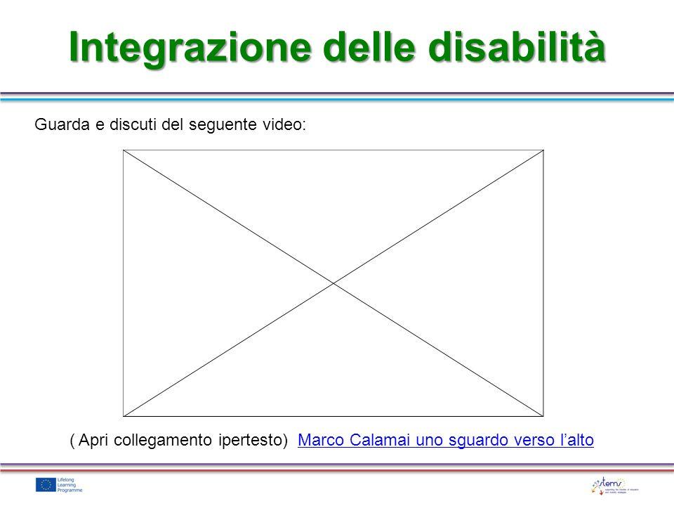Integrazione delle disabilità Guarda e discuti del seguente video: ( Apri collegamento ipertesto) Marco Calamai uno sguardo verso laltoMarco Calamai u