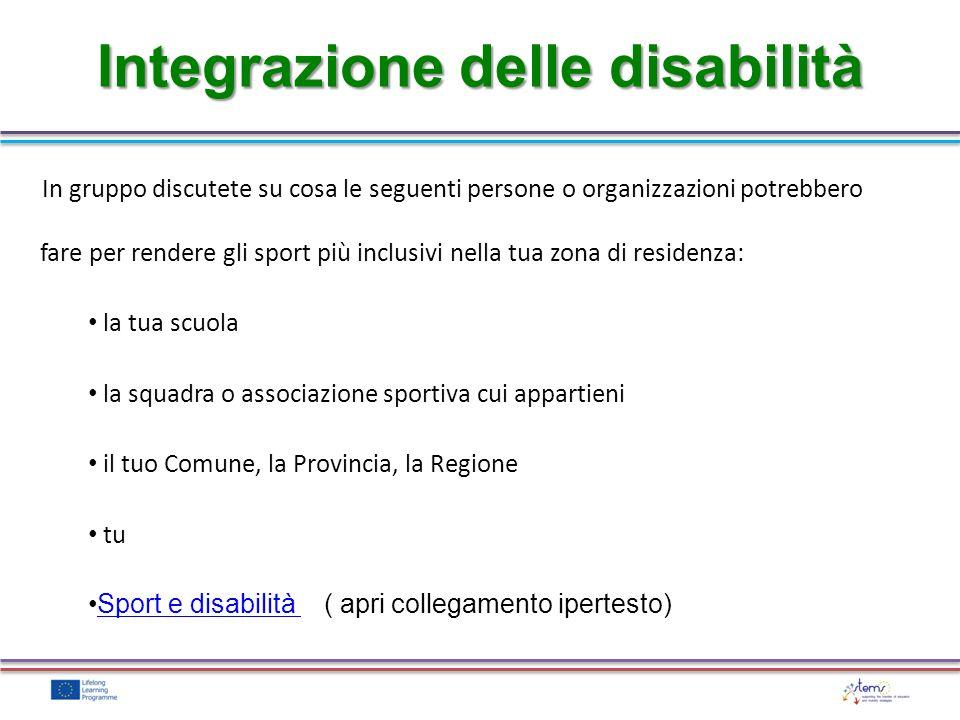 Integrazione delle disabilità In gruppo discutete su cosa le seguenti persone o organizzazioni potrebbero fare per rendere gli sport più inclusivi nel