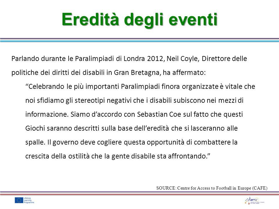 Eredità degli eventi Parlando durante le Paralimpiadi di Londra 2012, Neil Coyle, Direttore delle politiche dei diritti dei disabili in Gran Bretagna,