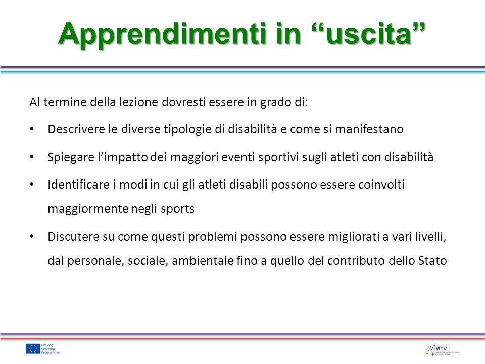 Al termine della lezione dovresti essere in grado di: Descrivere le diverse tipologie di disabilità e come si manifestano Spiegare limpatto dei maggio