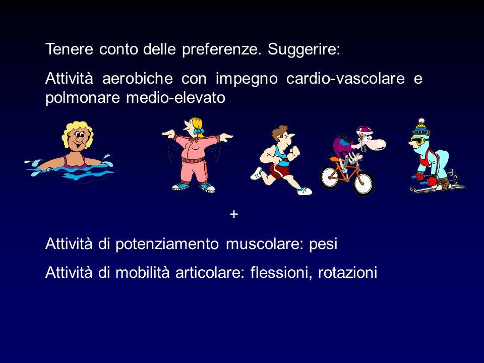 Tenere conto delle preferenze. Suggerire: Attività aerobiche con impegno cardio-vascolare e polmonare medio-elevato + Attività di potenziamento muscol