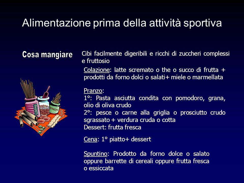 Alimentazione prima della attività sportiva Cibi facilmente digeribili e ricchi di zuccheri complessi e fruttosio Colazione: latte scremato o the o su