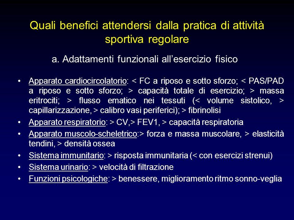 a. Adattamenti funzionali allesercizio fisico Apparato cardiocircolatorio: capacità totale di esercizio; > massa eritrociti; > flusso ematico nei tess