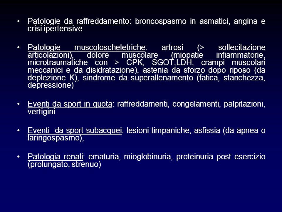 Patologie da raffreddamento: broncospasmo in asmatici, angina e crisi ipertensive Patologie muscoloscheletriche: artrosi (> sollecitazione articolazio