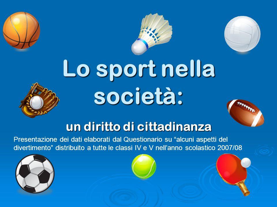 Lo sport nella società: un diritto di cittadinanza Presentazione dei dati elaborati dal Questionario su alcuni aspetti del divertimento distribuito a