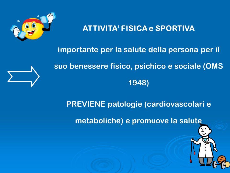 ATTIVITA FISICA e SPORTIVA importante per la salute della persona per il suo benessere fisico, psichico e sociale (OMS 1948) PREVIENE patologie (cardi