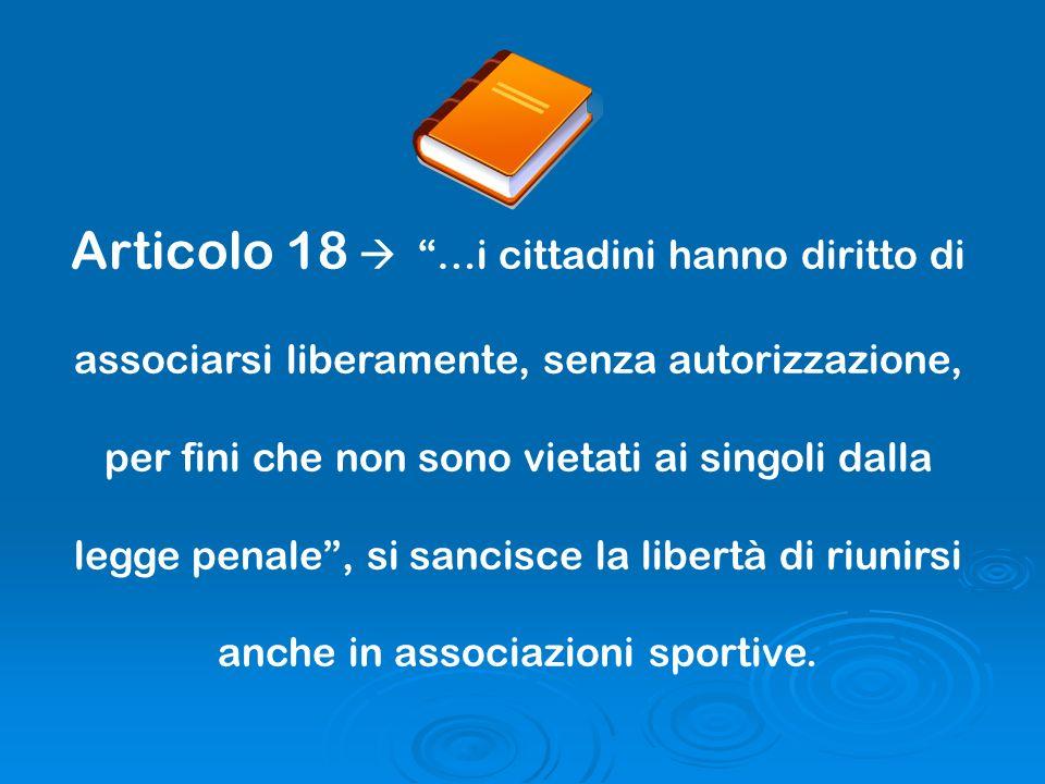 Articolo 18 …i cittadini hanno diritto di associarsi liberamente, senza autorizzazione, per fini che non sono vietati ai singoli dalla legge penale, s